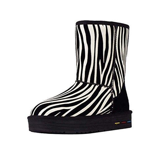 HooH Damen Zebra Print Winter Warm Schneestiefel Blanc