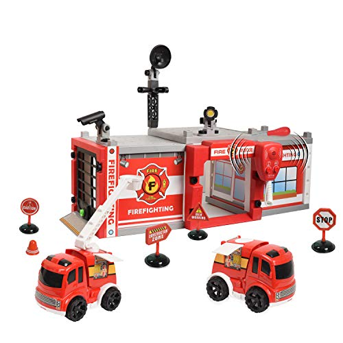 (WolVol Do-It-Yourself Fire Station Garage w/ Lights & Sounds - Design & Build Your Own Playset for Kids & Children)