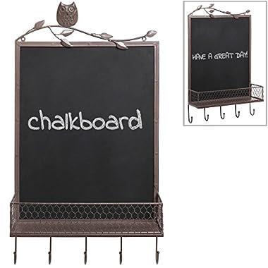 Owl & Branch Country Rustic Brown Metal Wall Mounted Chalkboard / Wire Basket Shelf / Coat Hooks Rack