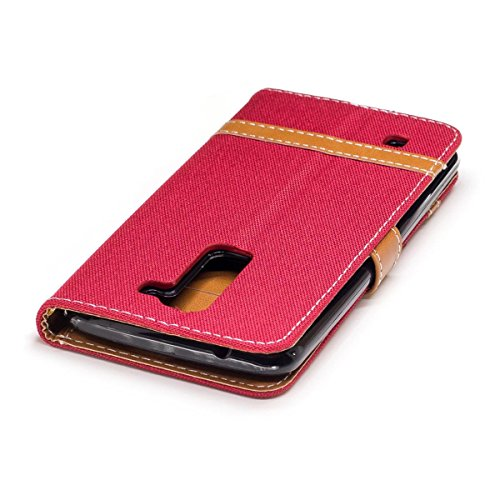 LG K7 / LG K8 Funda Azul marino, MEETER Libro PU Cuero Case Con Flip case cover, Cierre Magnético, Función de Soporte, Tarjeta y efectivo titular, Billetera con Tapa para LG K7 / LG K8, Color de Azul  Rojo