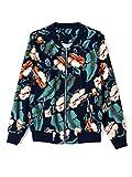 Choies Women Dark Blue Tropical Floral Print Pockted Bomber Jacket Coat Outwear M