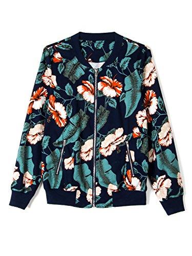 Tropical Print Jacket (Choies Women Dark Blue Tropical Floral Print Pockted Bomber Jacket Coat Outwear L)