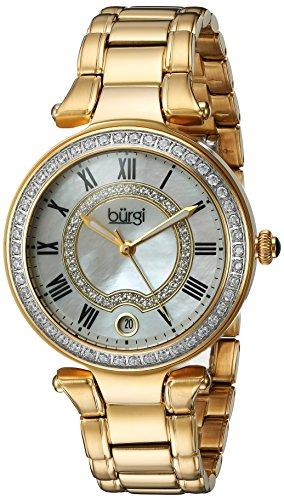 Burgi Women's White Mother-of-Pearl Dial with Swarovski Crystal Accents and Gold-Tone Stainless Steel Bracelet Watch BUR165YG