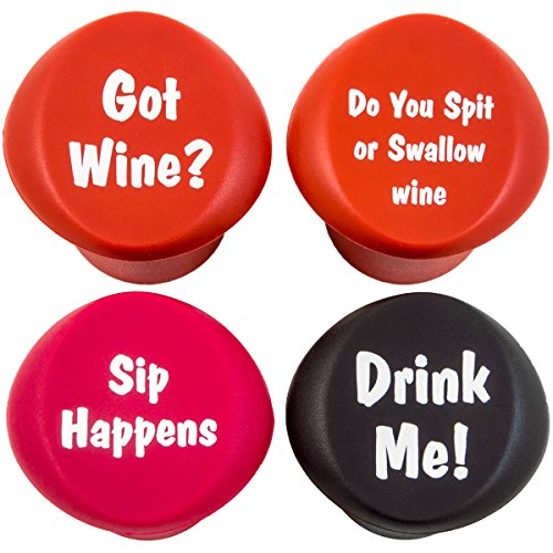 Naughty - Funny Wine Stoppers - Four Silicone Reusable Corks ()