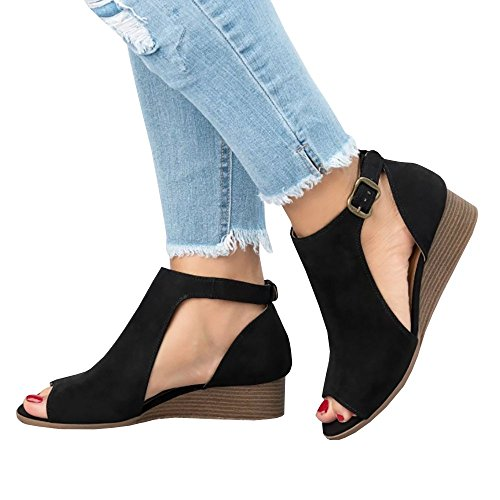 Enjoybuy Womens Peep Toe Ankle Strap Cut Out Booties Summer Low Heel Wedge - Comfort Toe Low Peep Wedge