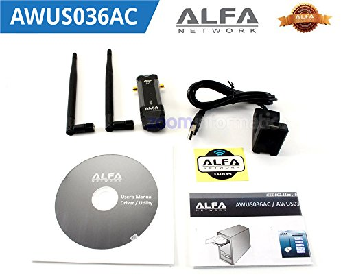 USB 3.0 ADAPTADOR WiFi Alfa Network AWUS036AC LARGO ALCANCE 802.11ac ANTENA