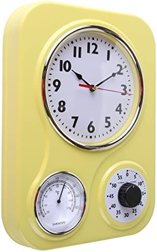 Lily's Home Retro Kitchen Wall Clock, with a Thermometer and 60-Minute Timer, Ideal for Any Kitchen, Yellow (9.5 in x 13.3 in) 51VJP5j4t1L