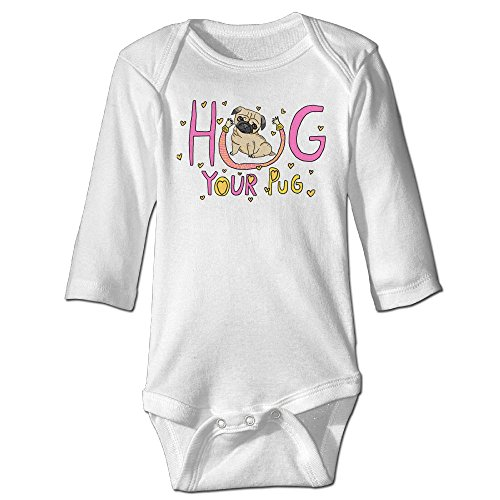 Baby Bodysuit Hug Your Pug One Piece Baby Long Sleeve Unisex Jumpsuit 12 Months White