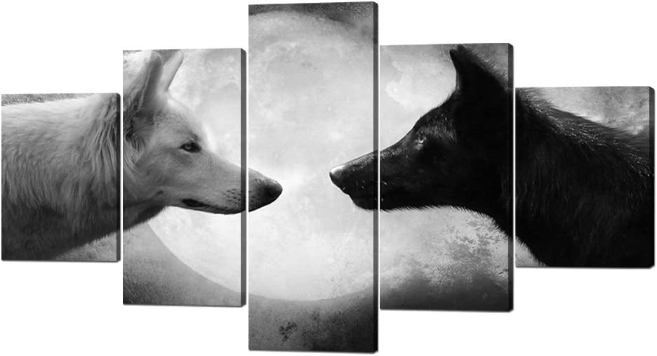 5 Panels Modern Wolf Canvas Wall Art Black and White Wolf Picture Prints on Stretched and Framed Giclee Wall Art Print Ready to Hang for Home Decor - 60''W x 32''H