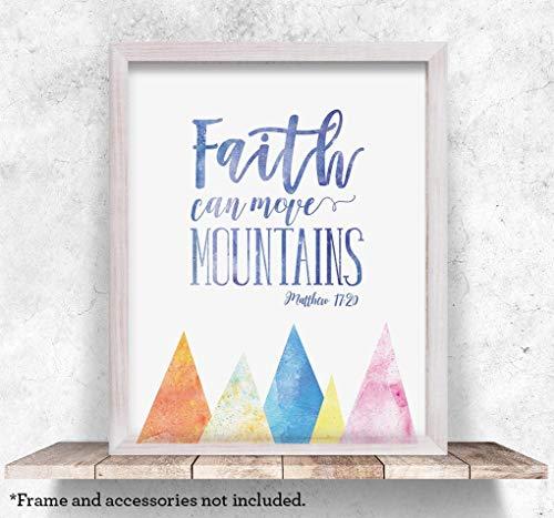 Faith Can Move Mountains, 11x14 Unframed Art Print, Bible Verse Wall Art, Home Decor, Kids Room Decor, Baby Shower Gift for Christian ()