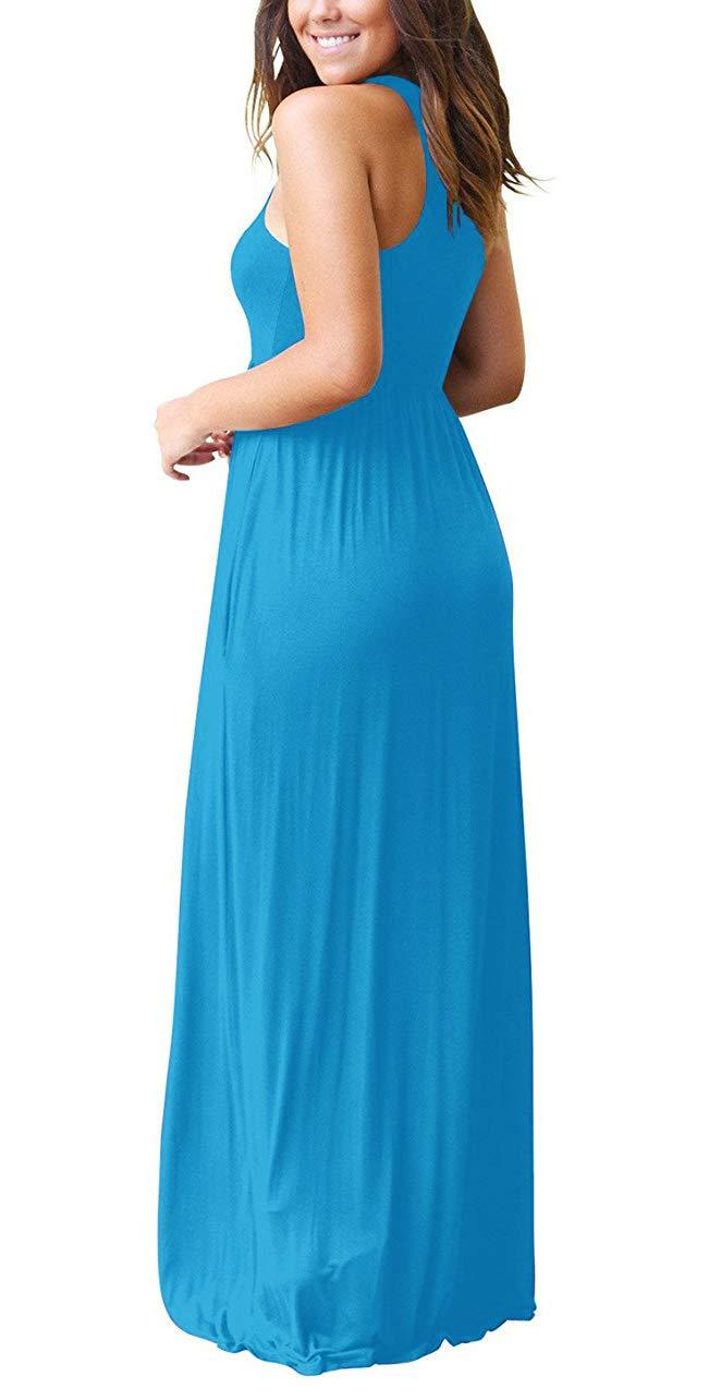 2f86bfaf2b68 GRECERELLE Women's Sleeveless Racerback Loose Plain Maxi Dresses Casual  Long Dresses with Pockets Nile Blue-XL
