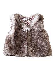 Richie House Little Girls Purple Bow Faux Fur Vest 5
