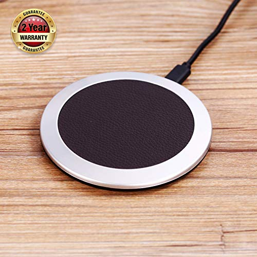 Wireelss charging pad qi charger-Fast wireless phone charger 10W wireless charger pad Ultrathin qi charging pad Leather wireless charger charging pad qi chargng stantion s9 charger s8 s7 s6 note8 (P6)