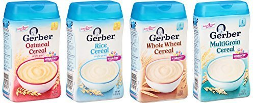 Gerber Baby Cereal Basic Flavor Variety Pack Combo- 8oz: Oatmeal Cereal, Rice Cereal, Multigrain Cereal, and Whole Wheat Cereal- Bundle of 4 8oz Containers