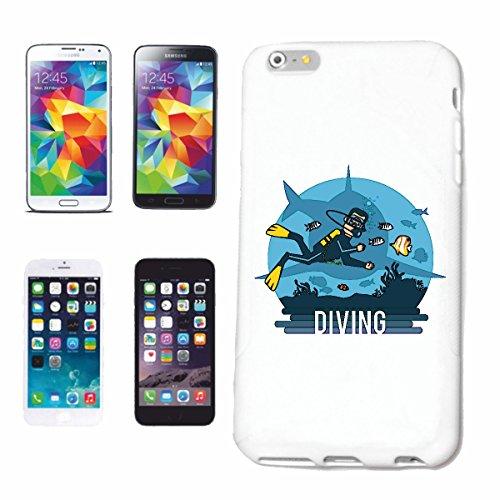 """cas de téléphone iPhone 6+ Plus """"DIVER MEETS WHITE HAI plongée OCEAN BLUE SHARK MEGALODON Hammerhai récif blacktip whalesharks requin mako"""" Hard Case Cover Téléphone Covers Smart Cover pour Apple iPho"""