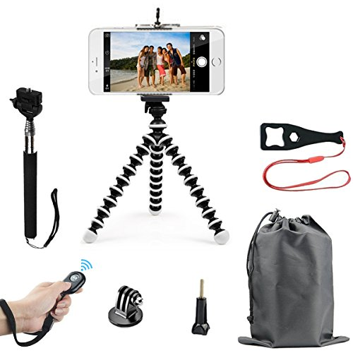 SMILEPOWO Lightweight Mini Tripod And Universal Smartphone Tripod Adapter,Phone Tripod, Selfie Stick Tripod,Phone Shutter Remote Control For iPhone, Android Phone,Any Smartphone,GOPRO HERO (Rope Twist Legs)