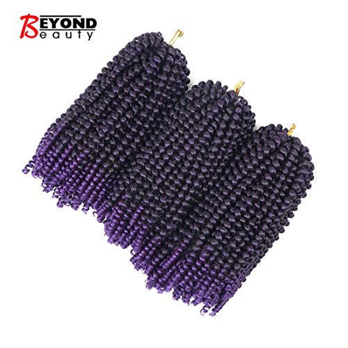 3 Pack Spring Twist Ombre Colors Crochet Braids Synthetic Braiding Hair Extensions Low Temperature Fiber (M1B-Purple)