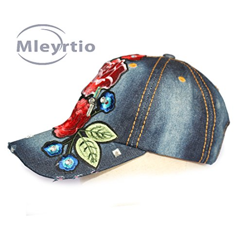Structured Cotton Twill Baseball Cap (Mleyrtio Unisex Twill Cotton Baseball Cap Rhinestone Studded & Embroidered Flower Stone Washed Denim Hat (Peony Navy))