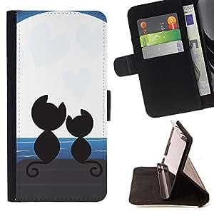 - MOONLIGHT ART CATS BLACK ROMANCE COUPLE LOVE - - Prima caja de la PU billetera de cuero con ranuras para tarjetas, efectivo desmontable correa para l Funny HouseFOR Samsung Galaxy S5 V SM-G900