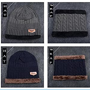 464fa8a7c70 Kata Beanie Hat Scarf Set Thick Knit Hat Warm Fleece Lined Scarf Warm  Winter Hat for Men   Women