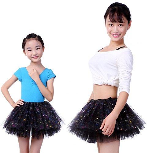 Anleolife 11inch Black Tutu Skirt Sisters Tutus Black Ballerina Tutu Girls Dance Dress (Dancing With The Stars Costumes 2015)