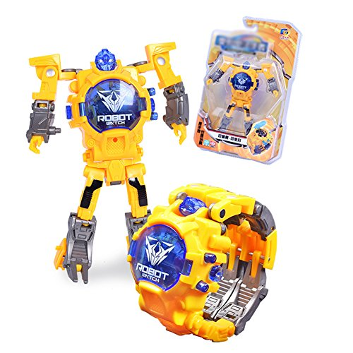 Qiyun Electronic Deformation Watch Creative Manual Transformation Robot Toys Children Electronic Watch Intelligence Development Deformed Robot Toystyle:yellow round lid