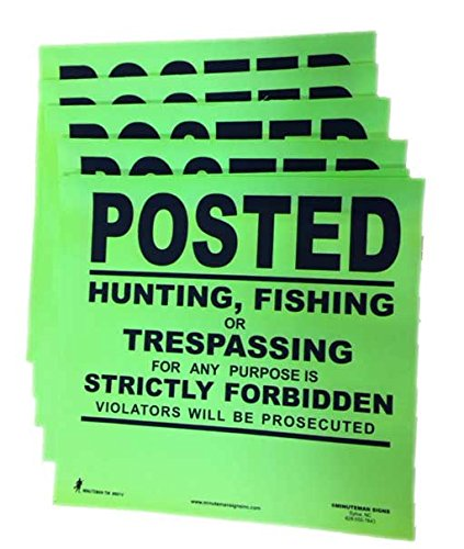 (Minuteman Signs Posted No Trespassing Sign Durable - Premium - Flexible - Post Your Land with Minuteman! - 10 Pack (Lime Green) )
