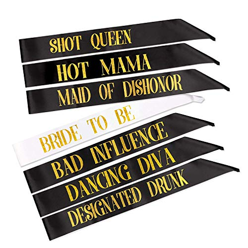7 Pack Hen Party Sash, 1 White Bride to Be Sash+6 Black Team Bride Tribe Hen Do Sash for Girls Hen Night Out Bridal Shower Wedding Bachelorette Party Accessories