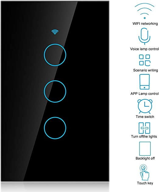 G-HOME interruptores de luz de pared con control remoto de APLICACI/ÓN de voz blanco Interruptor t/áctil inal/ámbrico WIFI inteligente de 3 v/ías soporte de funci/ón de sincronizaci/ón ALEXA ECHO