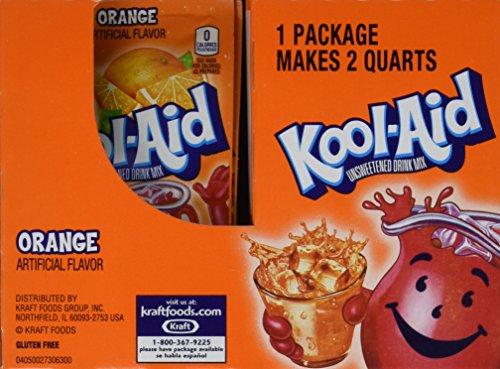 Kool-Aid Orange Unsweetened Soft Drink Mix, 0.15 Oz (Bonus Pack of 50 Packets) (Flavor Aid)