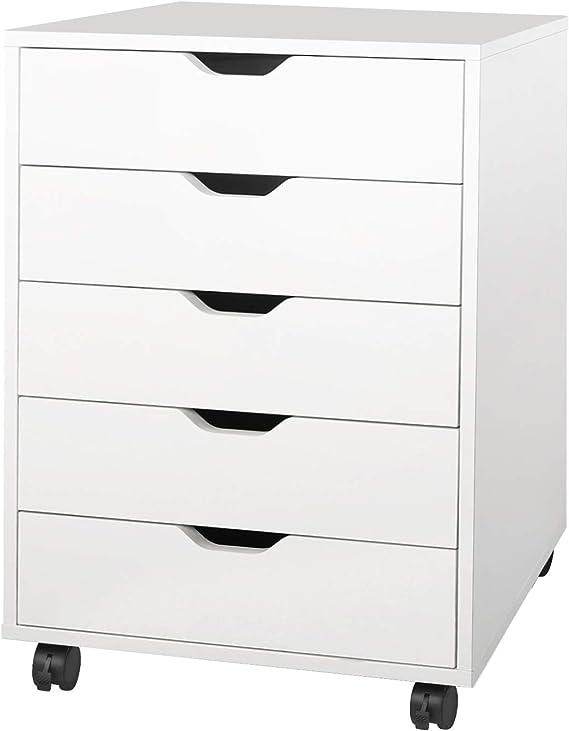 Devaise 5 Drawer Chest Wood Storage Dresser Cabinet With Wheels White Kitchen Dining Amazon Com