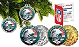 Licensed Miami Dolphins NFL Christmas Tree Ornament Colorized 24KT Gold JFK Half Dollar 2 Coin Set! W/H COA!