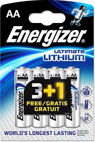 Energizer AA/L91 2900.0mAh Ultimate Lithium Batteries (Pack of 4)