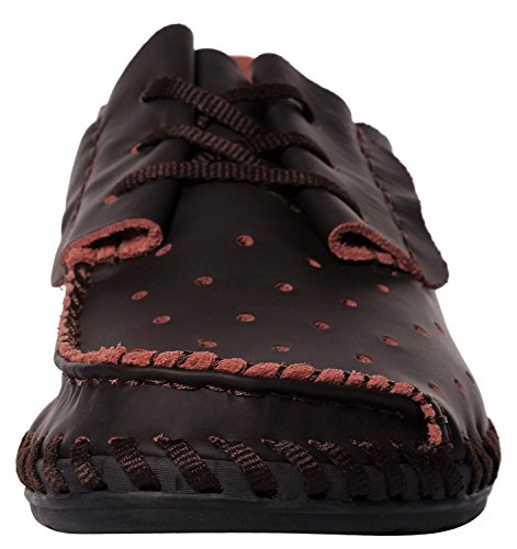 Caihee Hombres Drivers Shoes Mocasines De Conducción Con Detalles Con Cordones En Cuero Darkbrown-1