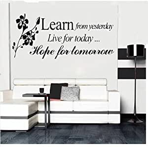 Learn From Yesterday Family Wall Decals Art Wall Stickers Home Decor