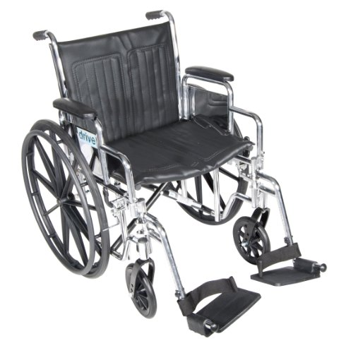 Drive Medical Chrome Sport Wheelchair with Various Arm Styles and Front Rigging Options, Black and Chrome, 20'' by Drive Medical