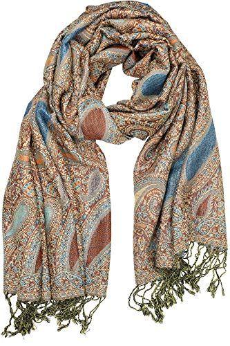 """Achillea Soft Silky Reversible Paisley Pashmina Shawl Wrap Scarf w/Fringes 80"""" x 28"""" (Paisley Turquoise Brown)"""