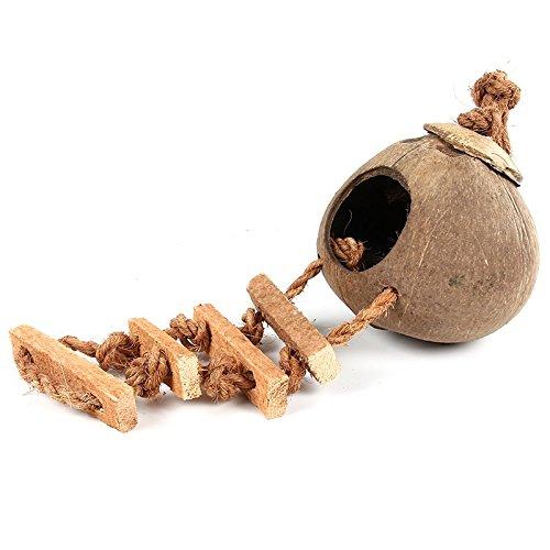 SODIAL Escalada de madera escalada de cascara de coco mascota pajaro juguete loro hamster escalada campana columpio productos para mascotas