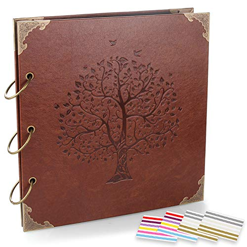 ADVcer Photo Album DIY Scrapbook (10x10 inch 50 Pages Double Sided), Vintage Leather Cover Three-Ring Binder Family Picture Booth with 9 Color 408pcs Self Adhesive Photos Corners for Memory Keep, Tree ()