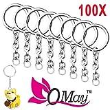 "100 pcs Split Key Ring with Chain, QMAY 1""/25mm Split Key Chain Ring, Nickel Plated Split Key Ring for Home Keys Organization, Arts & Crafts, Lanyards"
