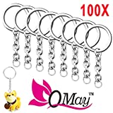"100 pcs Split Key Ring with Chain, QMAY 1""/25mm Split Key Chain Ring, Nickel Plated Split Key Ring for Home Keys Organization, Arts & Crafts, Lanyards"