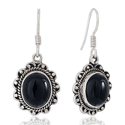 925 Oxidized Sterling Silver Black Onyx Gemstone Oval Rope Edge Vintage Dangle Earrings 1.4
