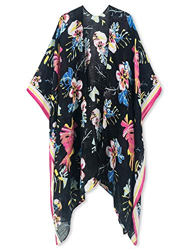 (Moss Rose Women's Beach Cover up Swimsuit Kimono Cardigan with Bohemian Floral)
