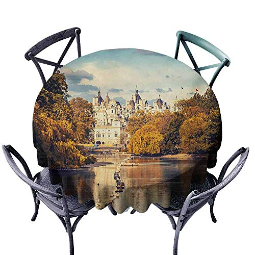 VIVIDX Washable Round Tablecloth,London,Picturesque ST James Park in UK Baroque Architecture Heritage Medieval Landscape,Table Cover for Kitchen Dinning Tabletop Decoratio,60 INCH,Multicolor]()