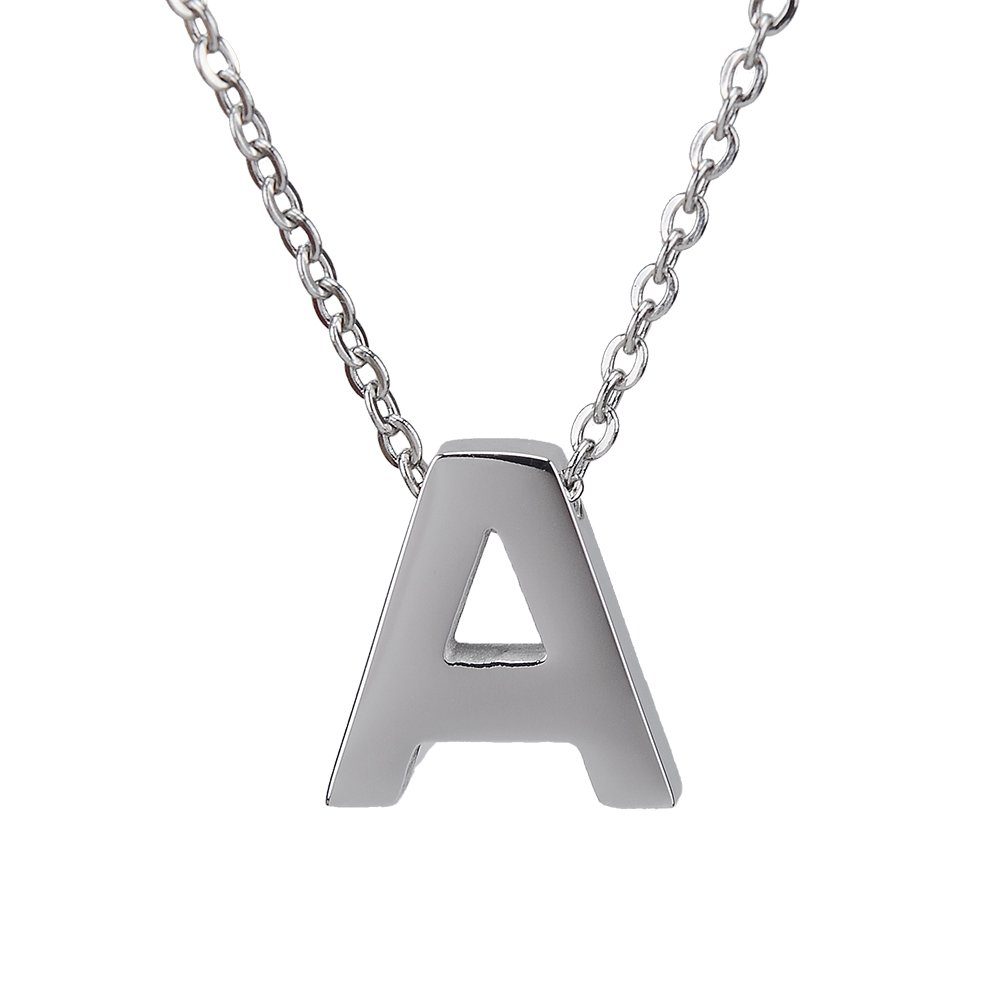 Girls Necklace Letter Tiny Initial Pendant Necklace Surgical Stainless Steel for Women Personalized Daughter Gift Capital Alphabet Jewelry 42+5cm A-Z R&H SJTE-A