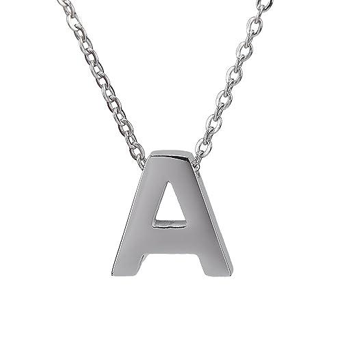 CheersLife Gioielli in Acciaio Inossidabile Pendente Collana con Lettera A Ciondolo  Con Iniziale per Uomo Donna