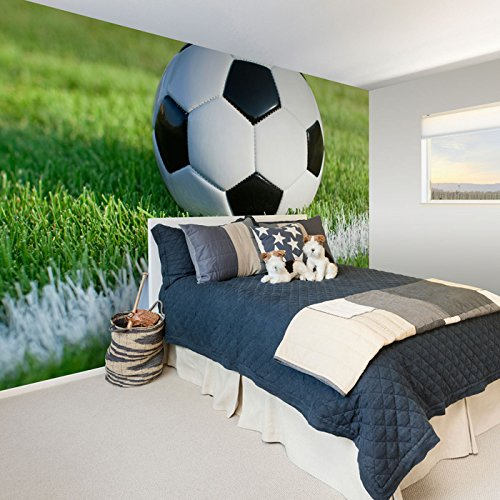 White and Black Soccer Removable Wall Mural 6701 - 6 Panel -144'' x 100'' (366x254cm) by Walls By Me