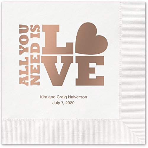 (Stacked Love Personalized Beverage Cocktail Napkins - Canopy Street - 100 Custom Printed White Paper Napkins with choice of foil stamp)