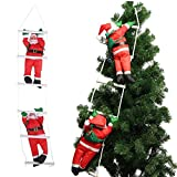 Two Santa Claus Climbing on Rope Ladder for Christmas Tree Indoor Outdoor Hanging Ornament Decor Christmas Xmas Party Home Door Wall Decoration (Two Santa Claus)