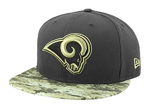 New Era 59Fifty Hat Los Angeles Rams NFL 2016 Salute to Service Gray/Camo Cap (7 1/2)